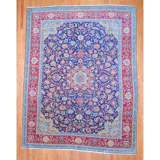 Persian Hand-knotted Sarouk Navy/ Red Wool Rug (10' x 12'9)