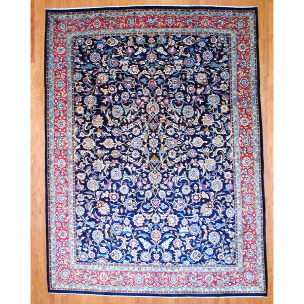 Persian Hand-knotted Sarouk Navy/ Burgundy Wool Rug (10' x 13'5)