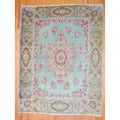 Antique Persian Hand-knotted Kerman Light Green/ Green Wool Rug (10' x 13')