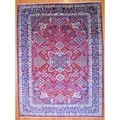 Persian Hand-knotted Kashan Red/ Navy Wool Rug (9'10 x 13'5)