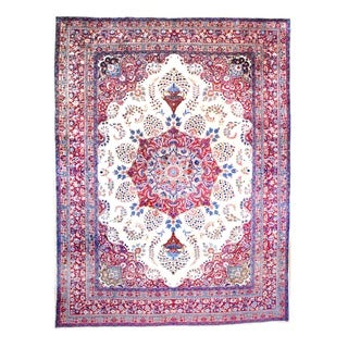 Persian Hand-knotted Mashad Ivory/ Red Wool Rug (9'6 x 12'8)