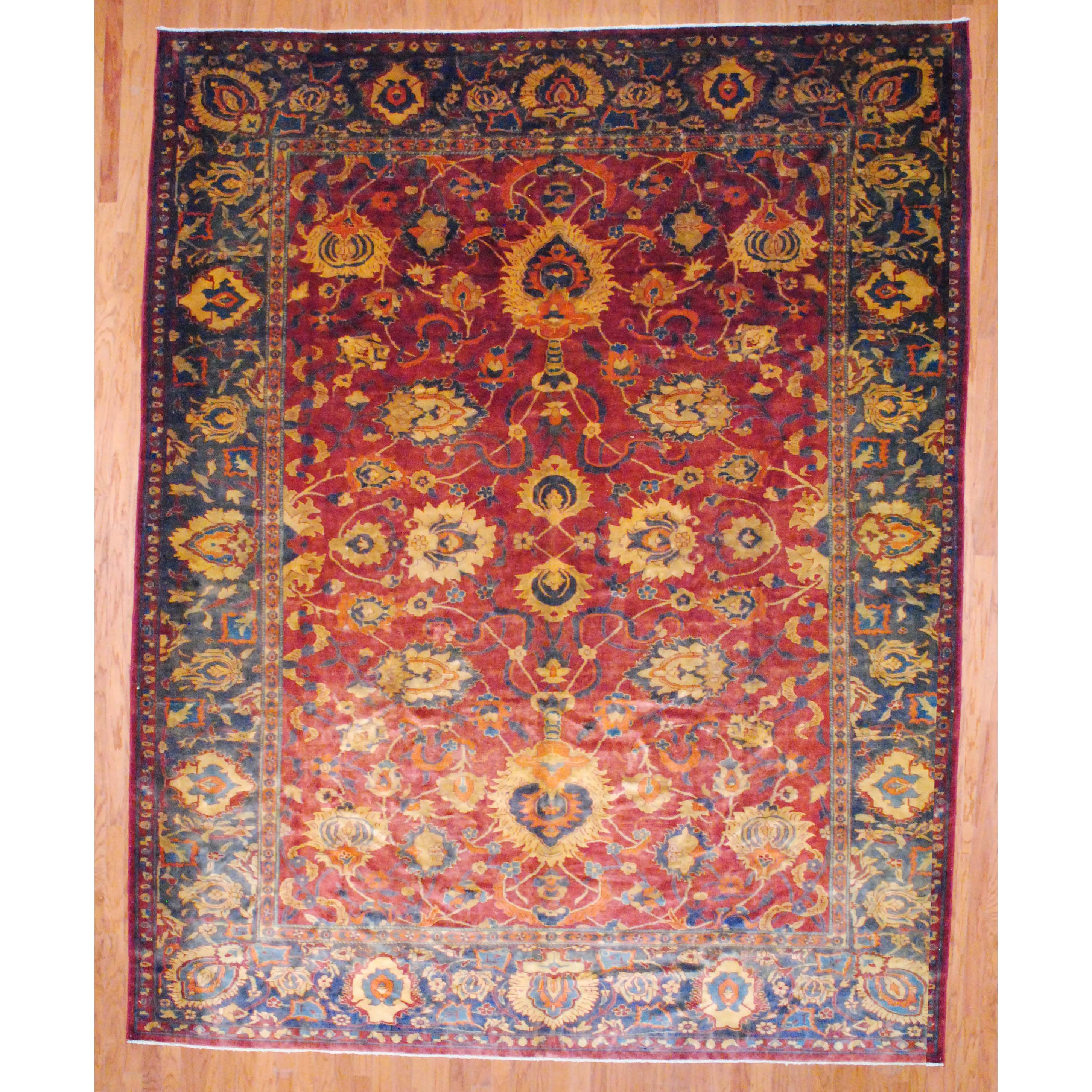 Egyptian Hand-knotted Oushak Red/ Green Wool Rug (10'10 x 13'9)