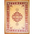 Afghan Hand-knotted Vegetable Dye Ivory/ Red Wool Rug (10'6 x 13'4)