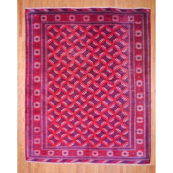 Antique 1920s Persian Hand-knotted Turkoman Red/ Navy Wool Rug (10' x 12'9)