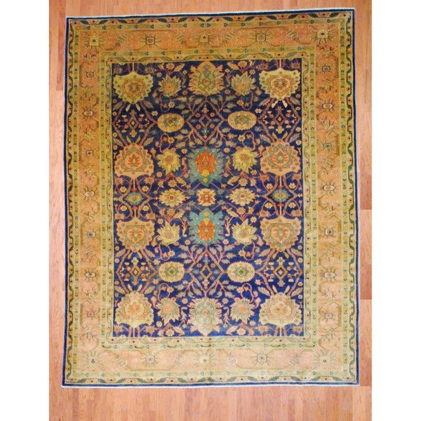 Egyptian Hand-knotted Oushak Navy/ Gold Wool Rug (10'2 x 13')