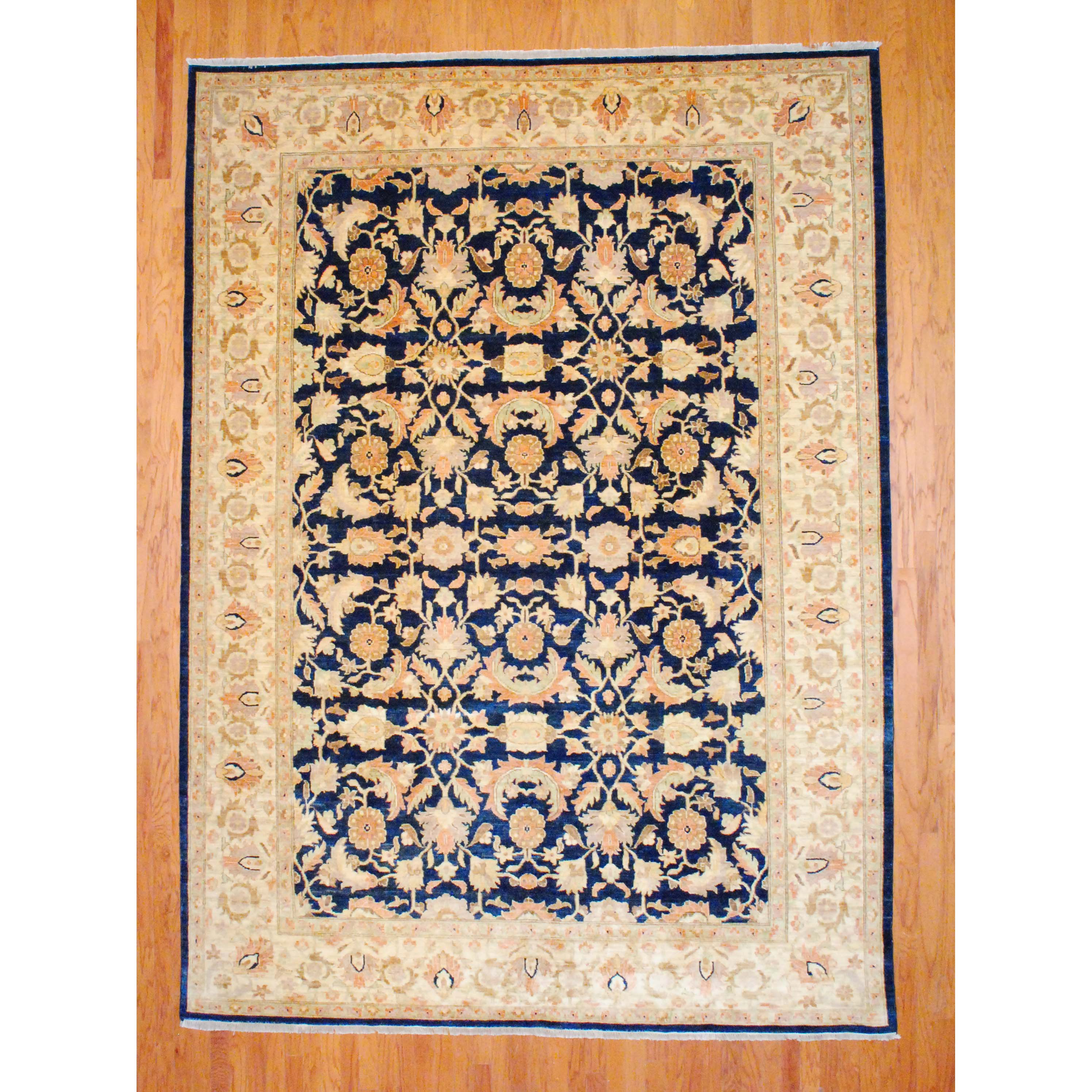 Afghan Hand-knotted Vegetable Dye Navy/ Ivory Wool Rug (9'3 x 13')