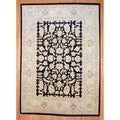 Afghan Hand-knotted Vegetable Dye Oushak Black/ Beige Wool Rug (9'9 x 13'9)