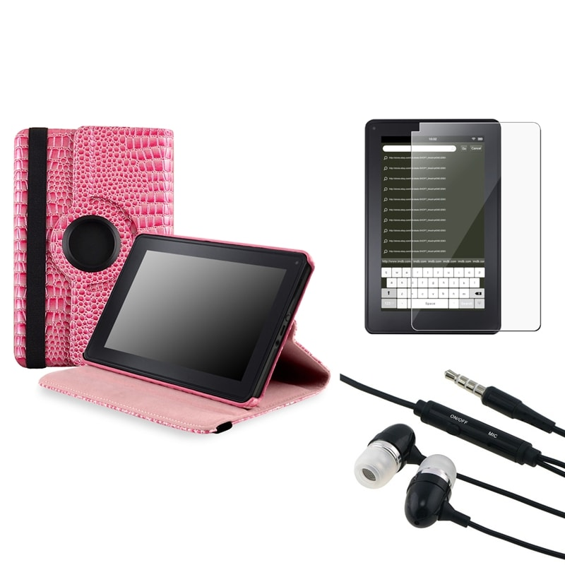 BasAcc Pink Case/ Screen Protector/ Headset for Amazon Kindle Fire