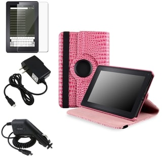 BasAcc Pink Case/ Screen Protector/ Chargers for Amazon Kindle Fire