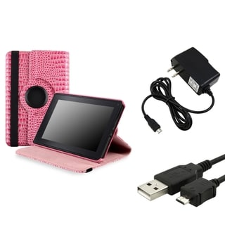 BasAcc Pink Case/ Travel Charger/ Cable for Amazon Kindle Fire