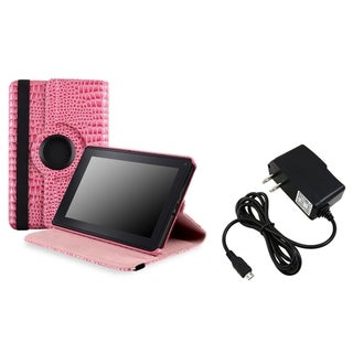 BasAcc Pink Case/ Travel Charger for Amazon Kindle Fire