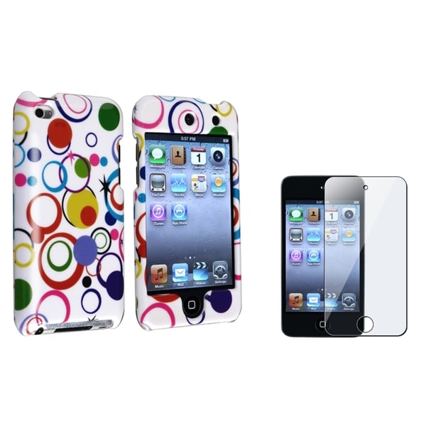 BasAcc White Hard-Plastic Case/Screen Protector for Apple iPod Touch Generation 4