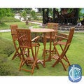 International Caravan Royal Tahiti Lugo 5-Piece Outdoor Bar-Height Dining Set