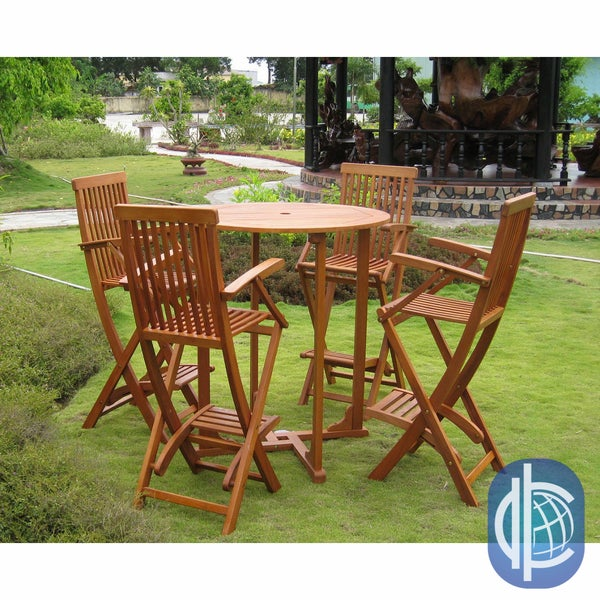 International Caravan Royal Tahiti Lugo 5-Piece Outdoor Bar-Height Dining Set
