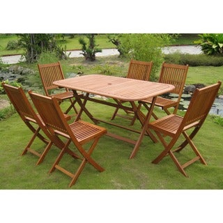 International Caravan Royal Tahiti Galende 7-Piece Folding Outdoor Dining Set