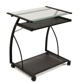 Studio Designs Black and Clear Tempered-safety-glass Two-shelf L Cart