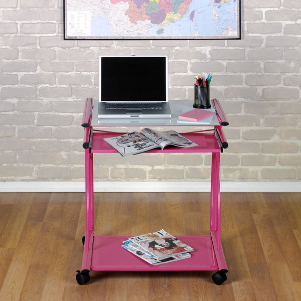 Studio Designs Pink/White Glass L Cart