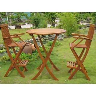 International Caravan Royal Tahiti Carmona 3-piece Outdoor Bar-height Bistro Set