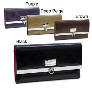 Women's Genuine Italian Leather Checkbook Wallet
