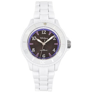 Tekday Children's Grey Dial White Plastic Strap Sport Watch