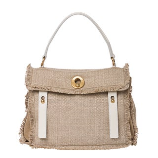 Saint Laurent 'Muse' Beige Linen Satchel