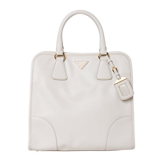 Prada White Saffiano Leather Tote Bag
