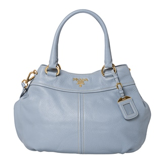 Prada Light Blue Grainy Leather Hobo Bag