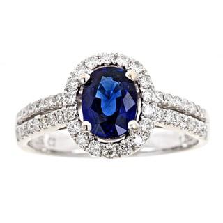 D'yach 18k Gold Sapphire and 1/2ct TDW Diamond Ring (G-H, I1-I2)