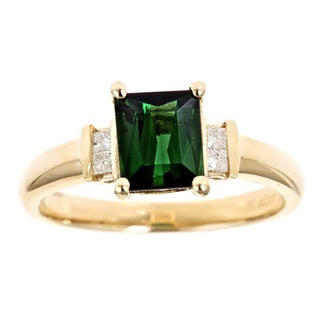 D'yach 14k Gold Green Tourmaline and 1/10ct TDW Diamond Ring (G-H, I1-I2)