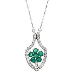 D'yach 14k Gold Emerald and 1/6ct TDW Diamond Necklace (G-H, I1-I2)