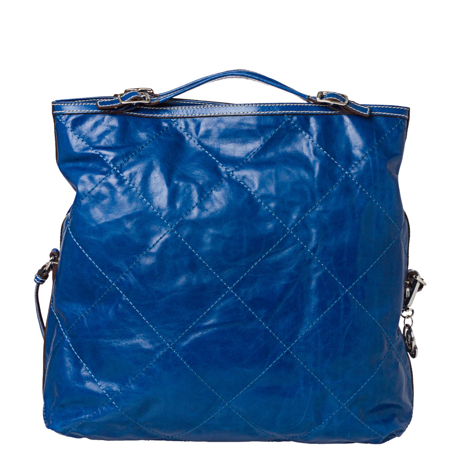 Moncler 'Aurelie' Blue Stitched Leather Tote Bag