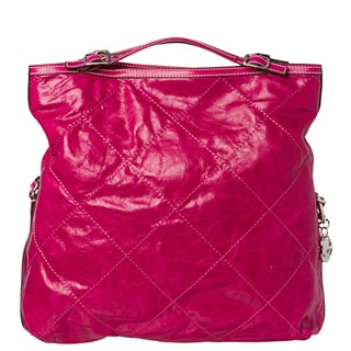 Moncler 'Aurelie' Dark Pink Stitched Leather Tote Bag