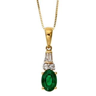 D'yach 18k Gold Emerald and 1/8ct TDW Diamond Necklace (G-H, I1-I2)