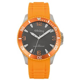 Tekday Men's Grey Dial Orange Silicone Strap Sport Watch