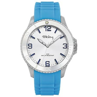 Tekday Men's Silver tone Dial Blue Silicone Strap Sport Watch