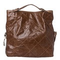 Moncler 'Aurelie' Brown Stitched Leather Tote Bag