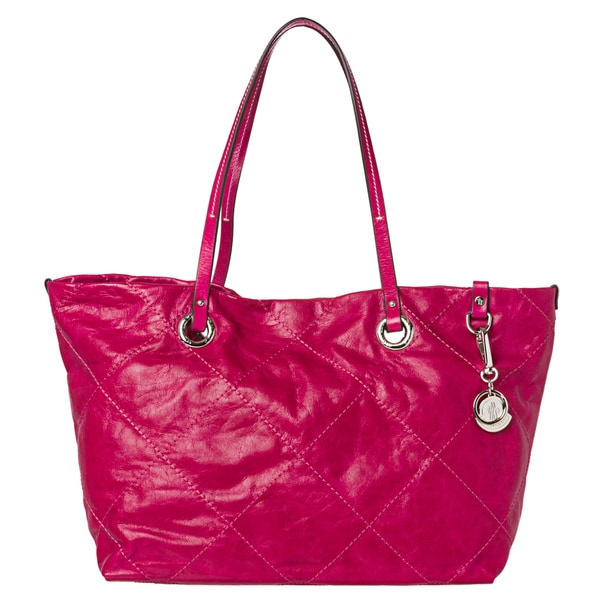 Moncler 'Adelaide' Dark Pink Stitched Leather Tote Bag