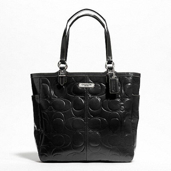 Coach Gallery Black Signature Embossed Patent Leather Tote Bag
