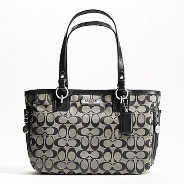 Coach 'Gallery' Black Signature Logo Shoulder Bag