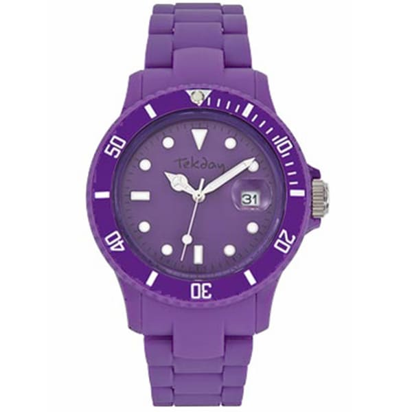 Tekday Men's Dark Purple Dial Plastic Strap Date Watch