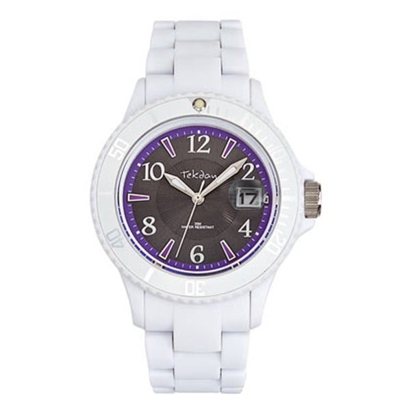 Tekday Women's Grey Dial White Plastic Strap Date Sport Watch