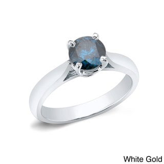 Auriya 14k Gold 1ct TDW Round-cut Blue Diamond Solitaire Ring