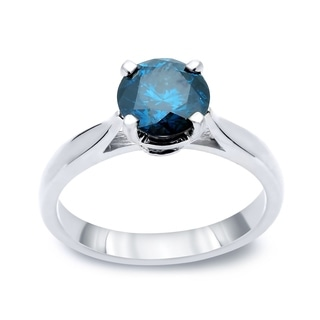 Auriya 14k Gold 1/2ct TDW Round-cut Blue Diamond Solitaire Ring