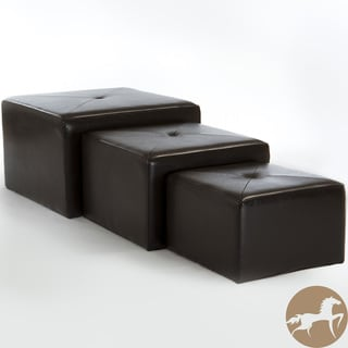Christopher Knight Home Juniper Brown Bonded Leather Nested Ottomans (Set of 3)
