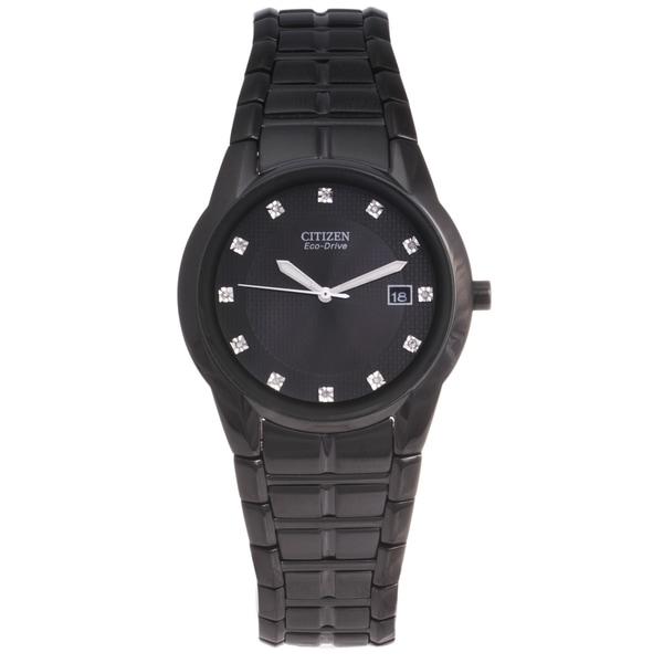 Citizen Men's 'Eco-drive' Black Stainless Steel Diamond Watch