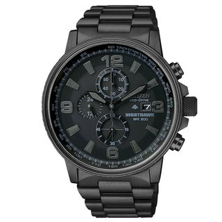 Citizen Men's Eco-drive 'Nighthawk' Blacked-out Dial Chronograph Watch