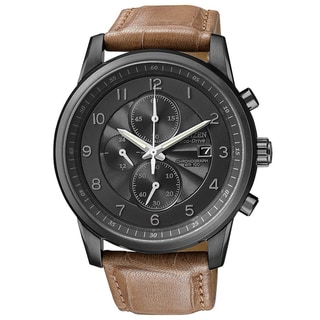 Citizen Men's 'Eco-drive' Leather Strap Chronograph Watch