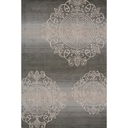 Hand-Tufted Valencia Medallion Grey Rug (5'3 x 8'0)