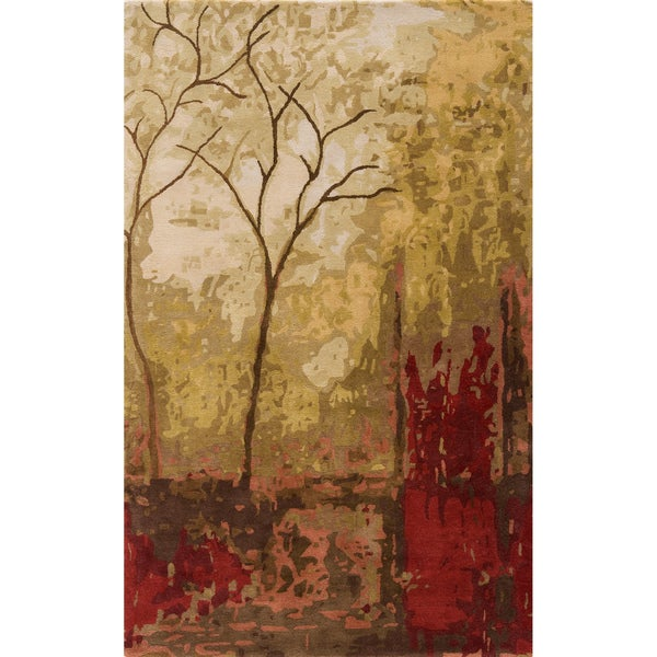 "Monet Autumn Multi Hand-Tufted Wool Rug (5'3"" x 8')"