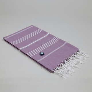 Authentic Pestemal Fouta Original Lilac and White Stripe Turkish Cotton Bath/ Beach Towel